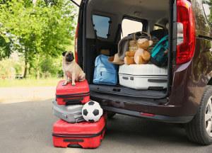 Hartschalenkoffer vor und im Kofferraum